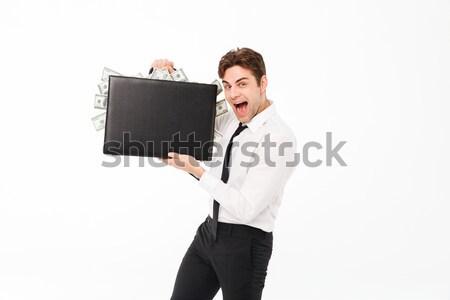 肖像 幸せ 満足した ビジネスマン ブリーフケース ストックフォト © deandrobot
