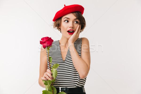 Portret zdziwiony kobieta czerwony beret Zdjęcia stock © deandrobot