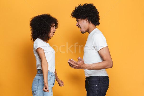 Portré mérges afro amerikai pár érv Stock fotó © deandrobot