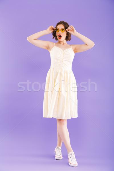 Stock fotó: Teljes · alakos · portré · izgatott · fiatal · nő · nyár · ruházat