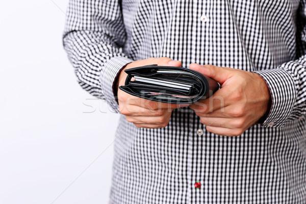 Pénztárca pénz kéz papír háttér vállalati Stock fotó © deandrobot
