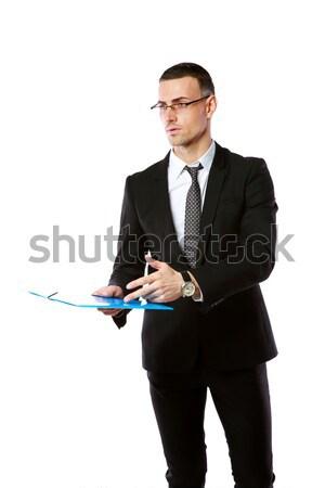 портрет бизнесмен оружия сложенный изолированный белый Сток-фото © deandrobot