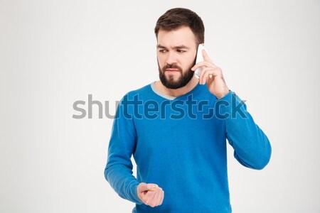 Portré fiatalember ásít fehér férfi háttér Stock fotó © deandrobot