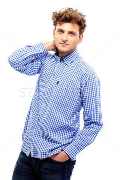 Portrait bel homme drap mode fond Photo stock © deandrobot