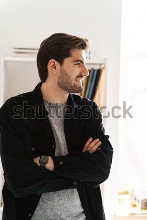 Dos conversación riendo oficina feliz trabajo Foto stock © deandrobot
