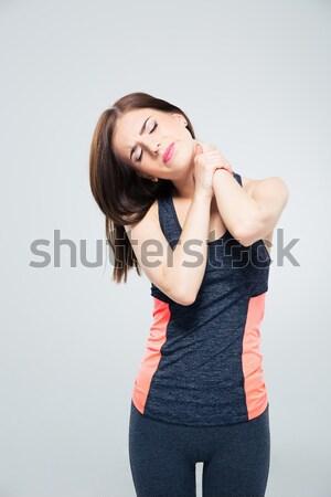 Deportivo dolor de cuello gris fondo dolor Foto stock © deandrobot