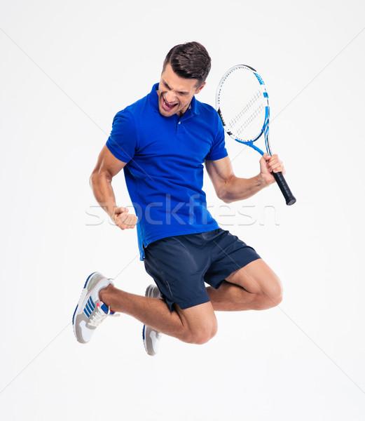Férfi teniszező ünnepel siker portré fiatal Stock fotó © deandrobot