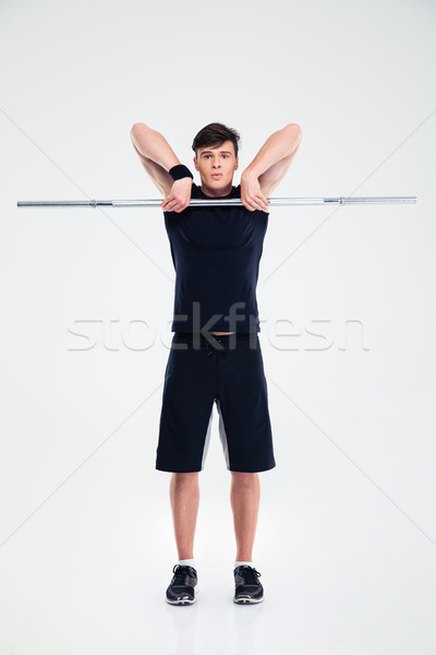 Atletisch man training barbell portret Stockfoto © deandrobot
