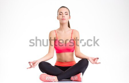 Sportoló ül lábak összehajtva pálmafák csukott szemmel Stock fotó © deandrobot