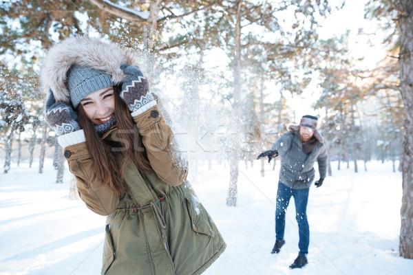 Belo feliz casal inverno Foto stock © deandrobot