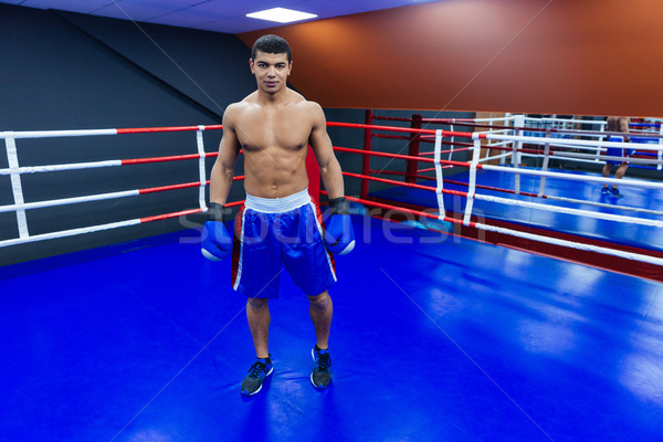 Homme boxeur permanent boxe anneau Photo stock © deandrobot
