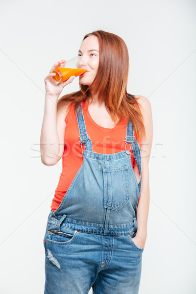 妊婦 飲料 オレンジジュース 孤立した 白 少女 ストックフォト © deandrobot