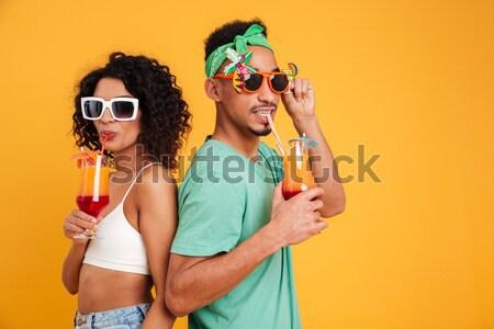 молодые счастливым пару играет воды Сток-фото © deandrobot