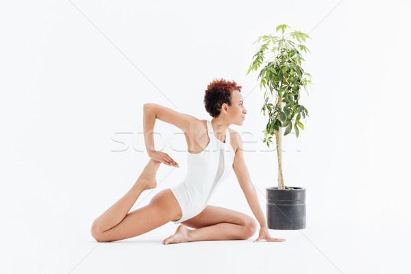 Frumos african american yoga Imagine de stoc © deandrobot