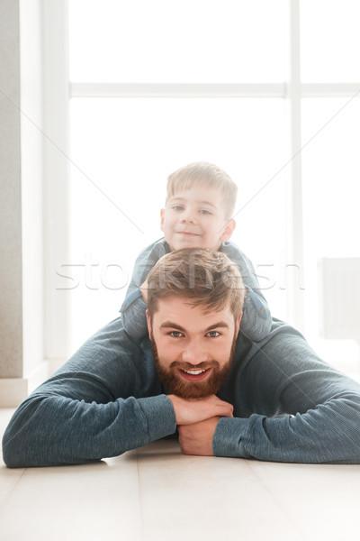 Erkek lies zemin sakallı baba Stok fotoğraf © deandrobot