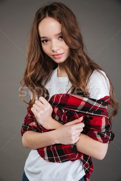 привлекательный длинные волосы Постоянный позируют Сток-фото © deandrobot