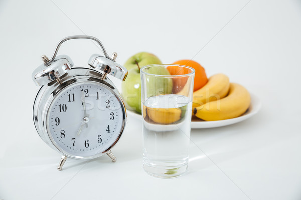 Alarme verre eau fruits image blanche Photo stock © deandrobot