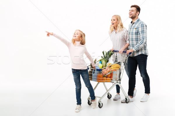 Stock fotó: Teljes · alakos · portré · fiatal · család · sétál · bevásárlókocsi
