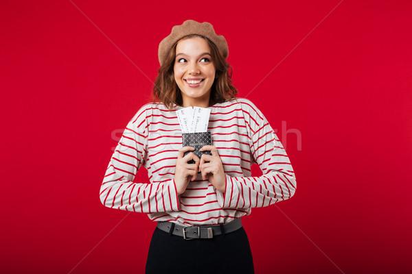 Portret opgewonden vrouw paspoort vliegen Stockfoto © deandrobot