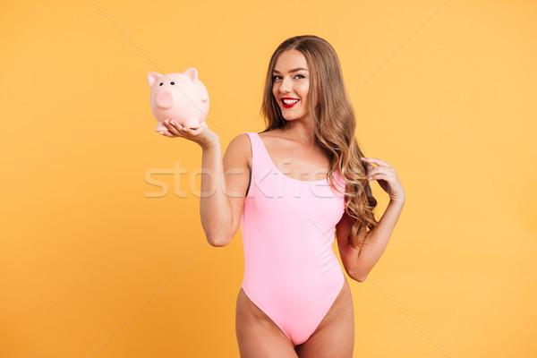 портрет счастливым привлекательная девушка купальник Постоянный Сток-фото © deandrobot