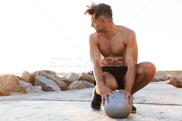 Ritratto muscolare a torso nudo piccolo fitness Foto d'archivio © deandrobot