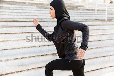 изображение инвалидов работает девушки спортивная одежда спортивных Сток-фото © deandrobot