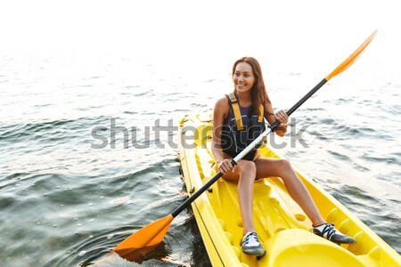 красивая женщина озеро морем лодка фотография Сток-фото © deandrobot