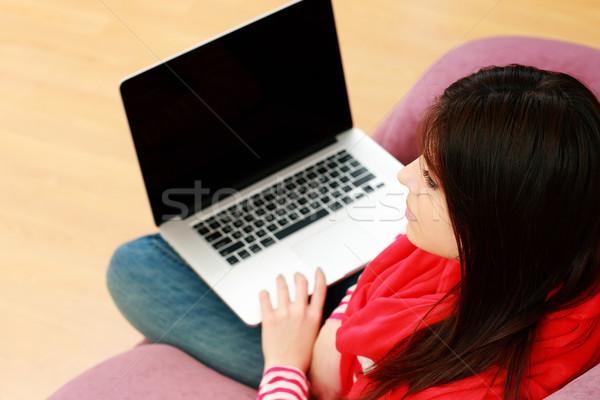 Stockfoto: Jonge · mooie · vrouw · vergadering · sofa · laptop · home