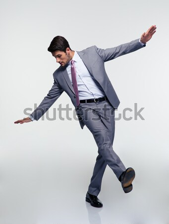 Stock fotó: Boldog · üzletember · ugrik · levegő · szürke · üzlet