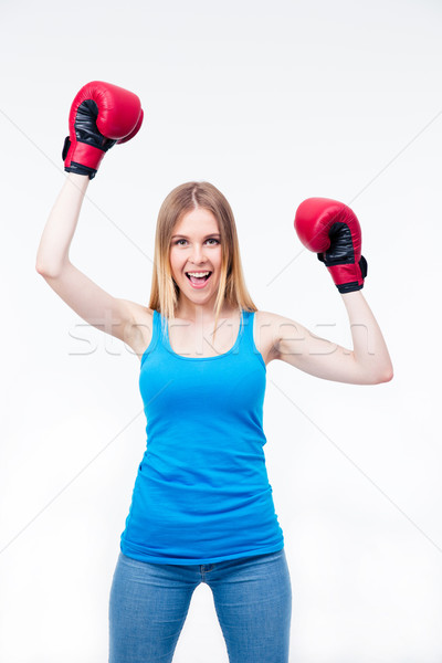 Feliz mulher luvas de boxe retrato casual Foto stock © deandrobot