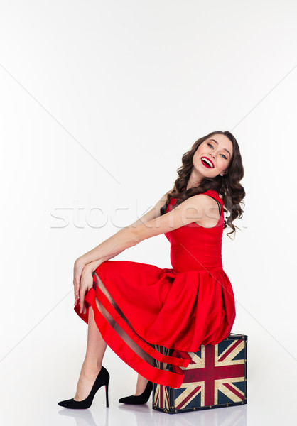 Cute kobieta posiedzenia vintage walizkę Zdjęcia stock © deandrobot