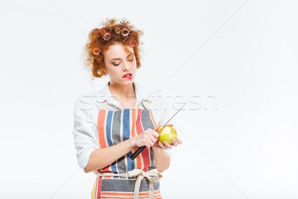 主婦 リンゴ 孤立した 白 髪 ストックフォト © deandrobot