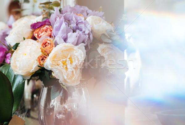 Bouquet fiori vetro vaso bella colorato Foto d'archivio © deandrobot