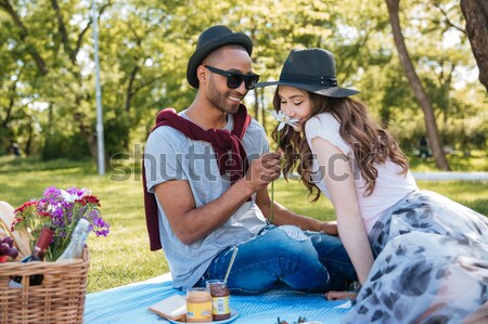 Happy young couple relaxing and having picnic in park Stock photo © deandrobot