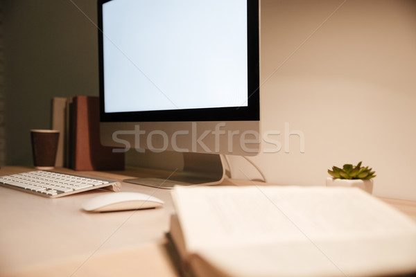 Modern computer with blank screen monitor on the table Stock photo © deandrobot
