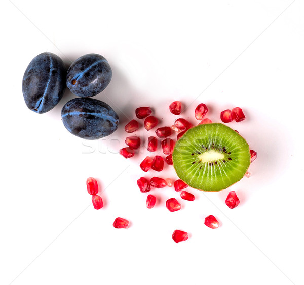 Stock photo: Top view of healthy concept with juicy fruits