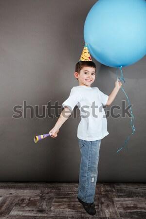 девочку рождения Hat красочный шаров Сток-фото © deandrobot