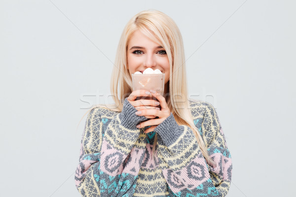 Model in sweater drink coffee Stock photo © deandrobot