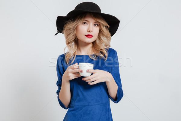 女性 着用 帽子 カップ コーヒー ストックフォト © deandrobot