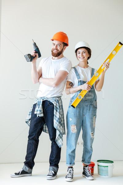 Retrato sorridente positivo casal Foto stock © deandrobot