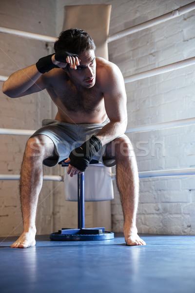 Yorgun boksör ter oturma halka adam Stok fotoğraf © deandrobot