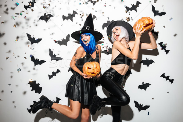 Young women in halloween costumes Stock photo © deandrobot