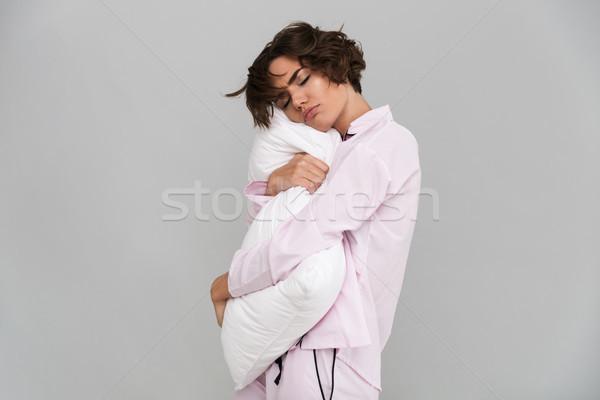 Ritratto stanco ragazza pigiama cuscino Foto d'archivio © deandrobot