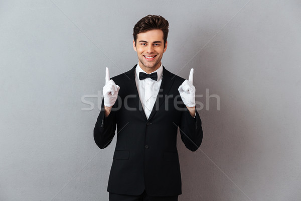 肖像 笑みを浮かべて 優しい 男 タキシード 手袋 ストックフォト © deandrobot