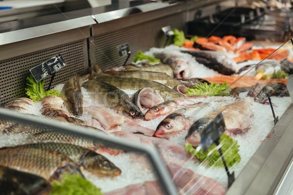 ショーケース 生 魚 スーパーマーケット 食品 レストラン ストックフォト © deandrobot