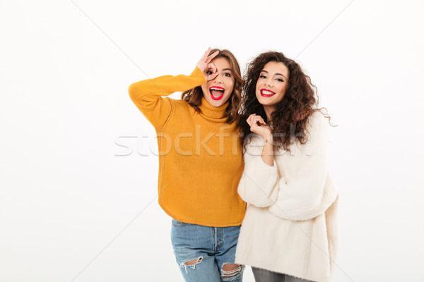 Two Joyful girls in sweaters having fun together Stock photo © deandrobot