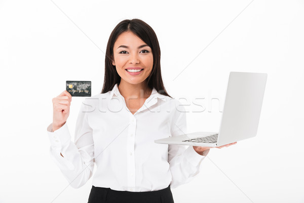 Retrato Asia mujer de negocios ordenador portátil Foto stock © deandrobot