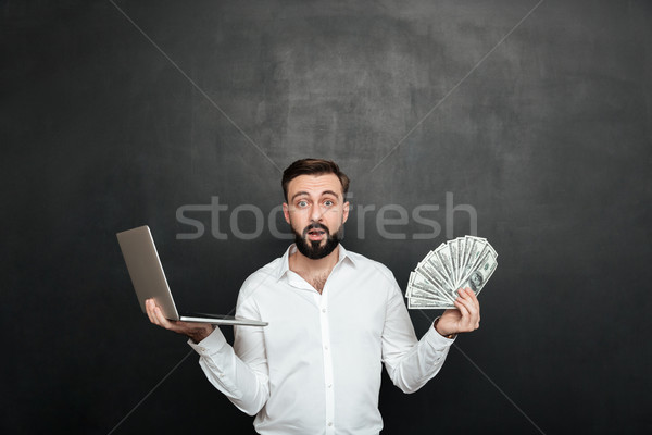 Porträt überrascht Erwachsenen guy weiß Shirt Stock foto © deandrobot