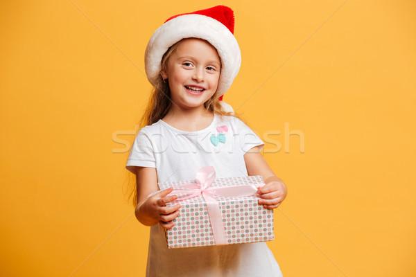 Stockfoto: Vrolijk · meisje · christmas · hoed