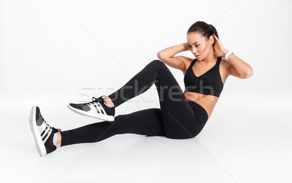 Сток-фото: портрет · концентрированный · азиатских · Фитнес-женщины · сидят